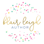 Blair Leigh's name in gold script with small, brightly covered dots in a circle configuration.